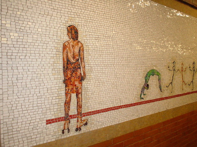 (147k, 640x480)<br><b>Country:</b> United States<br><b>City:</b> New York<br><b>System:</b> New York City Transit<br><b>Line:</b> IRT West Side Line<br><b>Location:</b> 66th Street/Lincoln Center <br><b>Photo by:</b> Kris Naudus<br><b>Date:</b> 1/25/2004<br><b>Artwork:</b> <i>Artemis, Acrobats, Divas and Dancers</i>, Nancy Spero (2004).<br><b>Notes:</b> Art installation, northbound platform.<br><b>Viewed (this week/total):</b> 10 / 2141