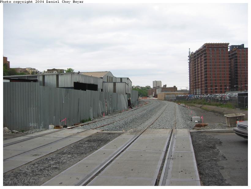 (67k, 820x620)<br><b>Country:</b> United States<br><b>City:</b> Hoboken, NJ<br><b>System:</b> Hudson Bergen Light Rail<br><b>Location:</b> Between Hoboken Wye and Paterson Ave. <br><b>Photo by:</b> Daniel C. Boyar<br><b>Date:</b> 5/16/2003<br><b>Notes:</b> New HBLR grade crossing on Observer Hwy (facing north)<br><b>Viewed (this week/total):</b> 1 / 2321