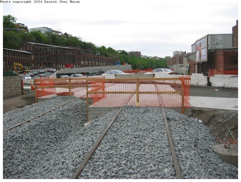 (108k, 820x620)<br><b>Country:</b> United States<br><b>City:</b> Hoboken, NJ<br><b>System:</b> Hudson Bergen Light Rail<br><b>Location:</b> Between Hoboken Wye and Paterson Ave. <br><b>Photo by:</b> Daniel C. Boyar<br><b>Date:</b> 5/16/2003<br><b>Notes:</b> Paterson Ave. grade crossing<br><b>Viewed (this week/total):</b> 0 / 2165