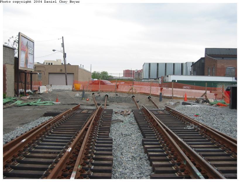 (85k, 820x620)<br><b>Country:</b> United States<br><b>City:</b> Hoboken, NJ<br><b>System:</b> Hudson Bergen Light Rail<br><b>Location:</b> Between Hoboken Wye and Paterson Ave. <br><b>Photo by:</b> Daniel C. Boyar<br><b>Date:</b> 5/16/2003<br><b>Notes:</b> Crossover north of Paterson Av. (facing south)<br><b>Viewed (this week/total):</b> 0 / 2253