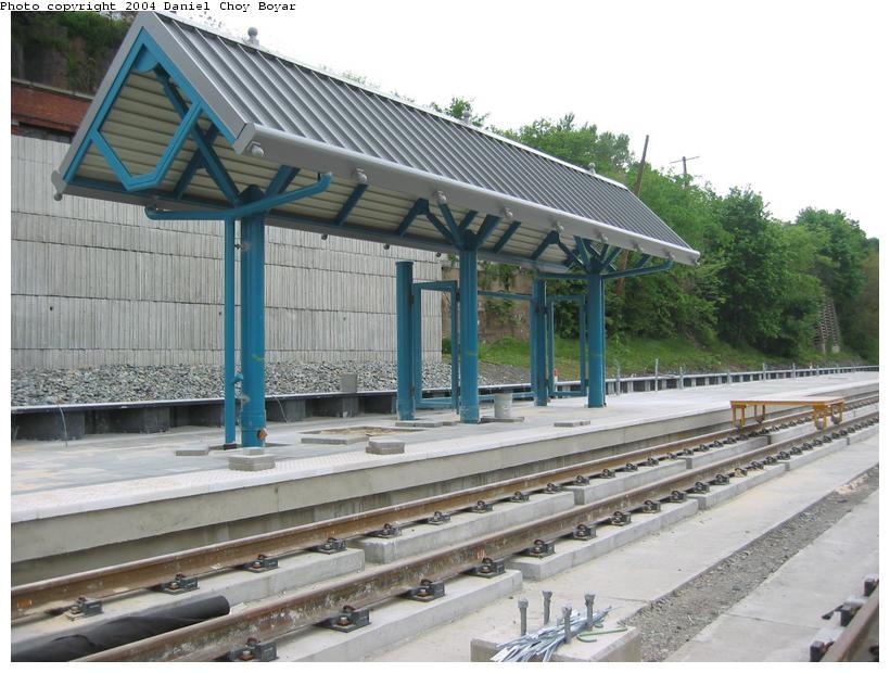 (94k, 820x620)<br><b>Country:</b> United States<br><b>City:</b> Hoboken, NJ<br><b>System:</b> Hudson Bergen Light Rail<br><b>Location:</b> 2nd Street <br><b>Photo by:</b> Daniel C. Boyar<br><b>Date:</b> 5/16/2003<br><b>Notes:</b> 2nd St. Station (facing north)<br><b>Viewed (this week/total):</b> 0 / 2730