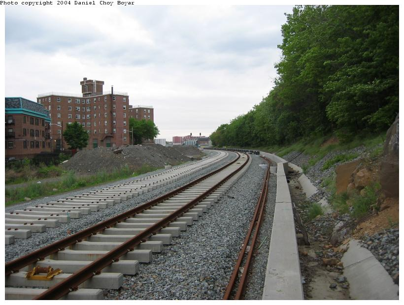 (90k, 820x620)<br><b>Country:</b> United States<br><b>City:</b> Hoboken, NJ<br><b>System:</b> Hudson Bergen Light Rail<br><b>Location:</b> Between 2nd Street and 9th Street <br><b>Photo by:</b> Daniel C. Boyar<br><b>Date:</b> 5/16/2003<br><b>Notes:</b> New track and concrete retaining wall looking south<br><b>Viewed (this week/total):</b> 1 / 2171