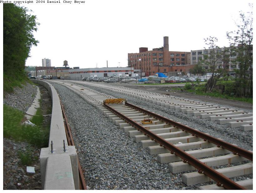 (98k, 820x620)<br><b>Country:</b> United States<br><b>City:</b> Hoboken, NJ<br><b>System:</b> Hudson Bergen Light Rail<br><b>Location:</b> Between 2nd Street and 9th Street <br><b>Photo by:</b> Daniel C. Boyar<br><b>Date:</b> 5/16/2003<br><b>Notes:</b> The rail ends<br><b>Viewed (this week/total):</b> 0 / 2408