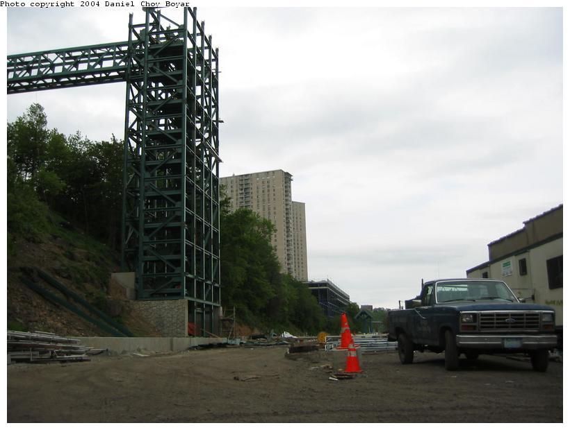 (67k, 820x620)<br><b>Country:</b> United States<br><b>City:</b> Hoboken, NJ<br><b>System:</b> Hudson Bergen Light Rail<br><b>Location:</b> 9th Street <br><b>Photo by:</b> Daniel C. Boyar<br><b>Date:</b> 5/16/2003<br><b>Notes:</b> 9th St. Station and new elevator tower construction<br><b>Viewed (this week/total):</b> 0 / 2771