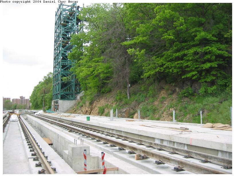 (111k, 820x620)<br><b>Country:</b> United States<br><b>City:</b> Hoboken, NJ<br><b>System:</b> Hudson Bergen Light Rail<br><b>Location:</b> 9th Street <br><b>Photo by:</b> Daniel C. Boyar<br><b>Date:</b> 5/16/2003<br><b>Notes:</b> 9th St. Station and new elevator tower construction<br><b>Viewed (this week/total):</b> 0 / 2520