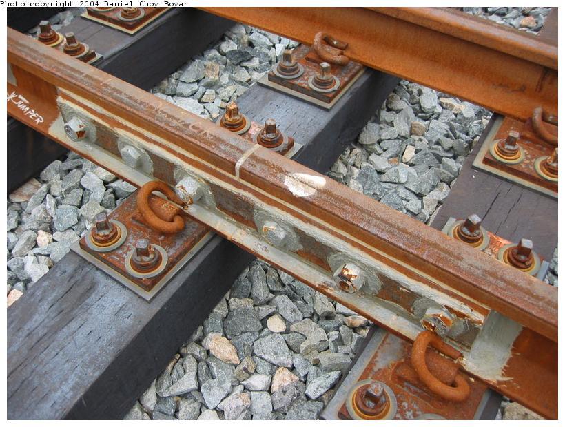 (117k, 820x620)<br><b>Country:</b> United States<br><b>City:</b> Hoboken, NJ<br><b>System:</b> Hudson Bergen Light Rail<br><b>Location:</b> Three Roads to Lincoln Harbor <br><b>Photo by:</b> Daniel C. Boyar<br><b>Date:</b> 5/16/2003<br><b>Notes:</b> Insulated rail joiner<br><b>Viewed (this week/total):</b> 0 / 2503