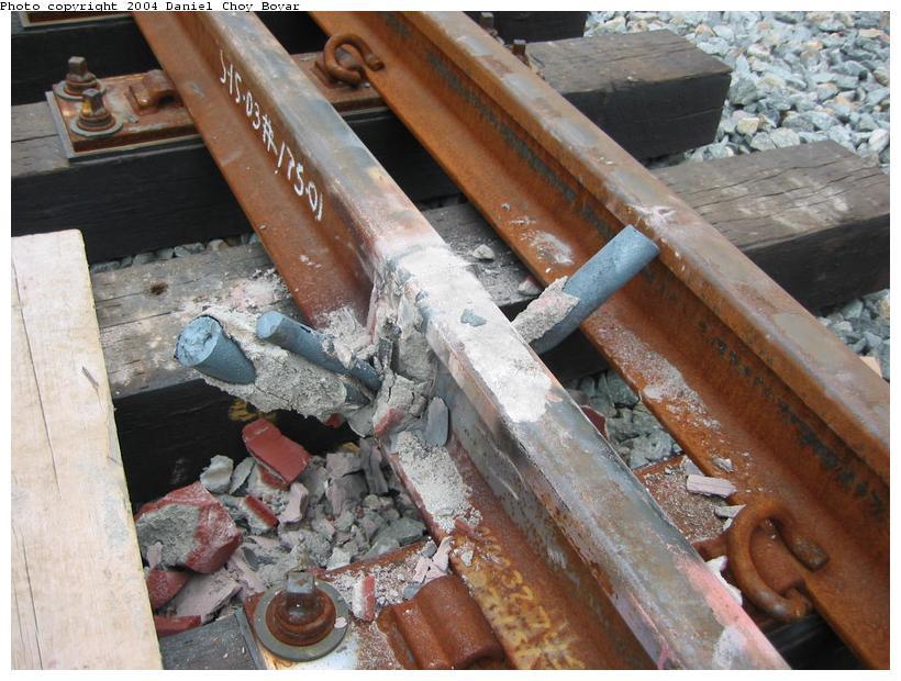 (100k, 820x620)<br><b>Country:</b> United States<br><b>City:</b> Hoboken, NJ<br><b>System:</b> Hudson Bergen Light Rail<br><b>Location:</b> Three Roads to Lincoln Harbor <br><b>Photo by:</b> Daniel C. Boyar<br><b>Date:</b> 5/16/2003<br><b>Notes:</b> Crucibles for welding rail<br><b>Viewed (this week/total):</b> 0 / 2420
