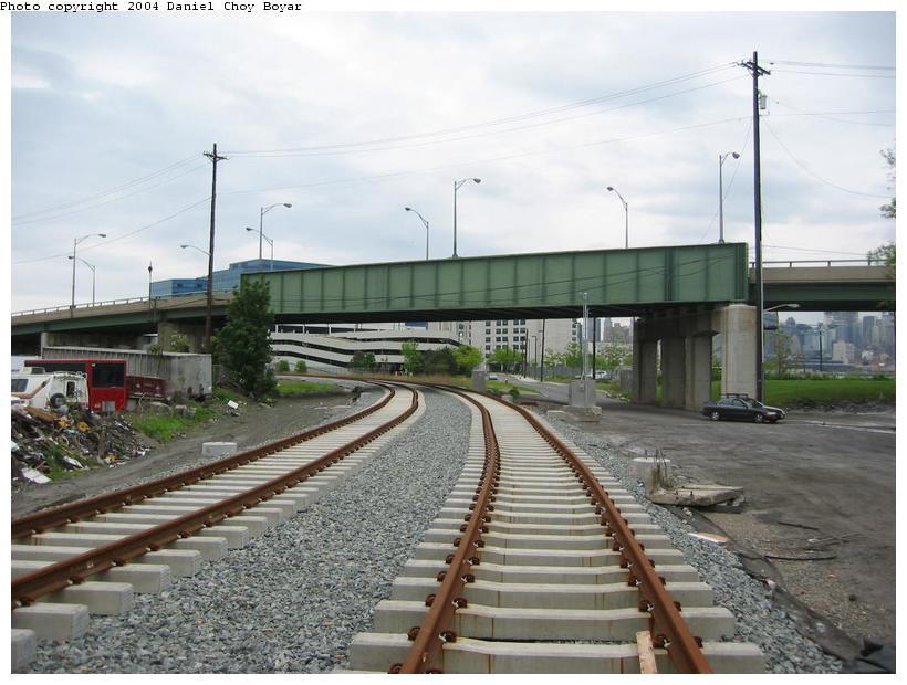 (86k, 820x620)<br><b>Country:</b> United States<br><b>City:</b> Hoboken, NJ<br><b>System:</b> Hudson Bergen Light Rail<br><b>Location:</b> Three Roads to Lincoln Harbor <br><b>Photo by:</b> Daniel C. Boyar<br><b>Date:</b> 5/16/2003<br><b>Notes:</b> Park Ave. overpass<br><b>Viewed (this week/total):</b> 1 / 2249