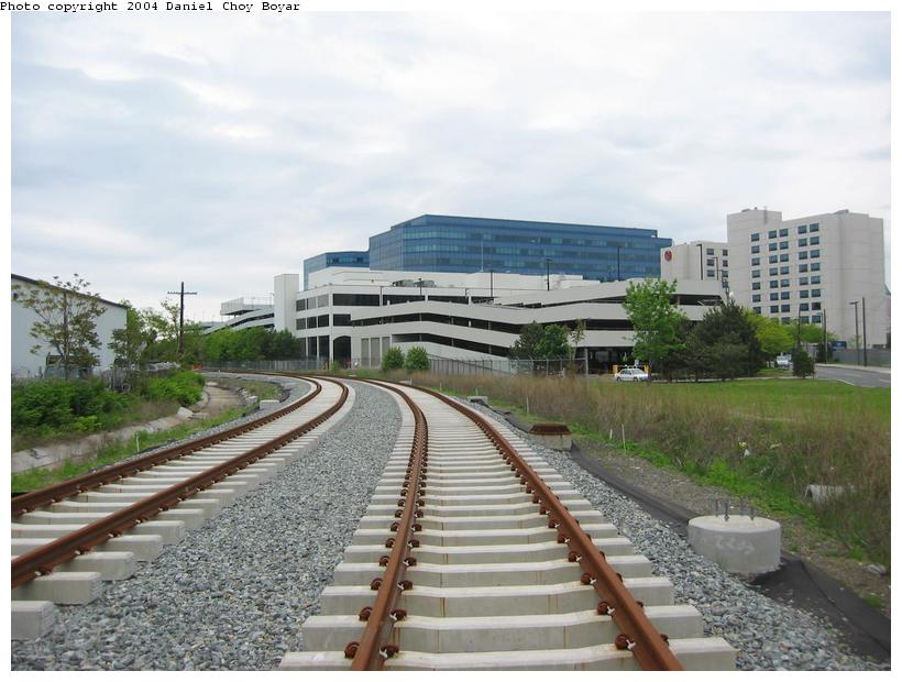 (85k, 820x620)<br><b>Country:</b> United States<br><b>City:</b> Hoboken, NJ<br><b>System:</b> Hudson Bergen Light Rail<br><b>Location:</b> Three Roads to Lincoln Harbor <br><b>Photo by:</b> Daniel C. Boyar<br><b>Date:</b> 5/16/2003<br><b>Notes:</b> North of Park Ave. heading into Lincoln Harbor<br><b>Viewed (this week/total):</b> 0 / 2251