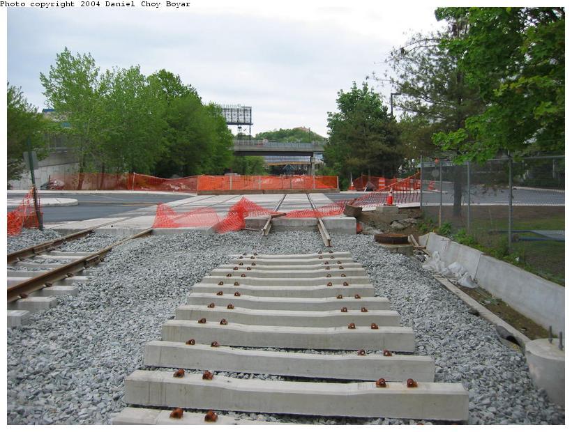 (108k, 820x620)<br><b>Country:</b> United States<br><b>City:</b> Hoboken, NJ<br><b>System:</b> Hudson Bergen Light Rail<br><b>Location:</b> Three Roads to Lincoln Harbor <br><b>Photo by:</b> Daniel C. Boyar<br><b>Date:</b> 5/16/2003<br><b>Notes:</b> 9th St. Grade crossing<br><b>Viewed (this week/total):</b> 0 / 2230