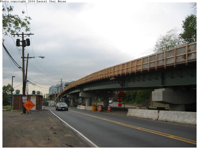 (66k, 820x620)<br><b>Country:</b> United States<br><b>City:</b> Weehawken, NJ<br><b>System:</b> Hudson Bergen Light Rail<br><b>Location:</b> Between Lincoln Harbor and Port Imperial <br><b>Photo by:</b> Daniel C. Boyar<br><b>Date:</b> 5/16/2003<br><b>Notes:</b> New ROW bridge over Baldwin Ave.<br><b>Viewed (this week/total):</b> 0 / 2434