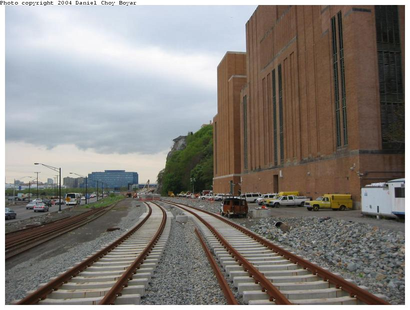 (81k, 820x620)<br><b>Country:</b> United States<br><b>City:</b> Weehawken, NJ<br><b>System:</b> Hudson Bergen Light Rail<br><b>Location:</b> Between Lincoln Harbor and Port Imperial <br><b>Photo by:</b> Daniel C. Boyar<br><b>Date:</b> 5/16/2003<br><b>Notes:</b> ROW facing south, Lincoln Tunnel vent tower to the right<br><b>Viewed (this week/total):</b> 0 / 2727