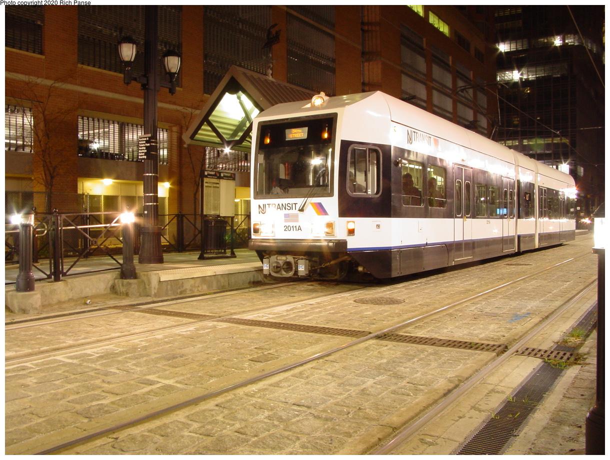 (96k, 820x620)<br><b>Country:</b> United States<br><b>City:</b> Jersey City, NJ<br><b>System:</b> Hudson Bergen Light Rail<br><b>Location:</b> Essex Street <br><b>Car:</b> NJT-HBLR LRV (Kinki-Sharyo, 1998-99)  2011 <br><b>Photo by:</b> Richard Panse<br><b>Date:</b> 10/28/2003<br><b>Viewed (this week/total):</b> 0 / 2855