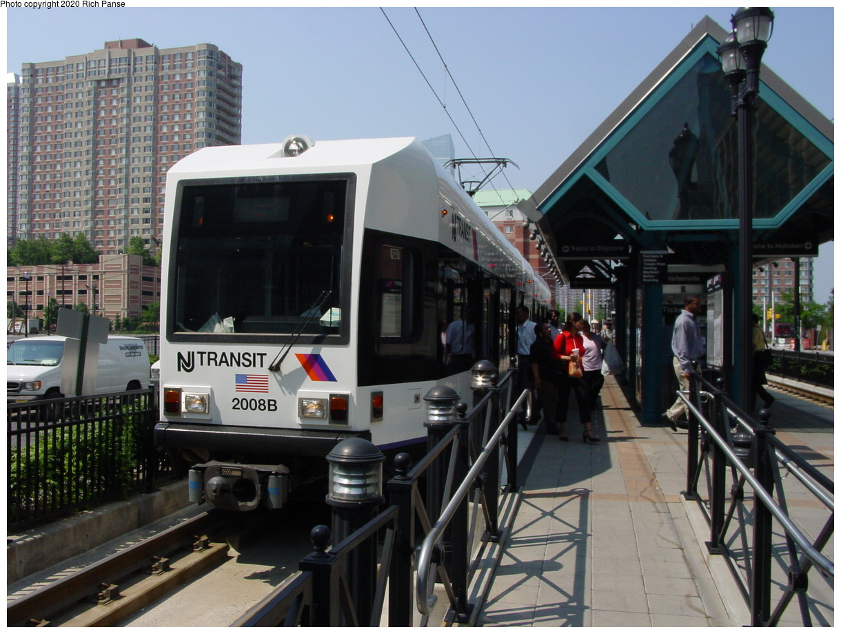 (88k, 820x620)<br><b>Country:</b> United States<br><b>City:</b> Jersey City, NJ<br><b>System:</b> Hudson Bergen Light Rail<br><b>Location:</b> Harborside <br><b>Car:</b> NJT-HBLR LRV (Kinki-Sharyo, 1998-99)  2008 <br><b>Photo by:</b> Richard Panse<br><b>Date:</b> 6/24/2003<br><b>Viewed (this week/total):</b> 1 / 2557