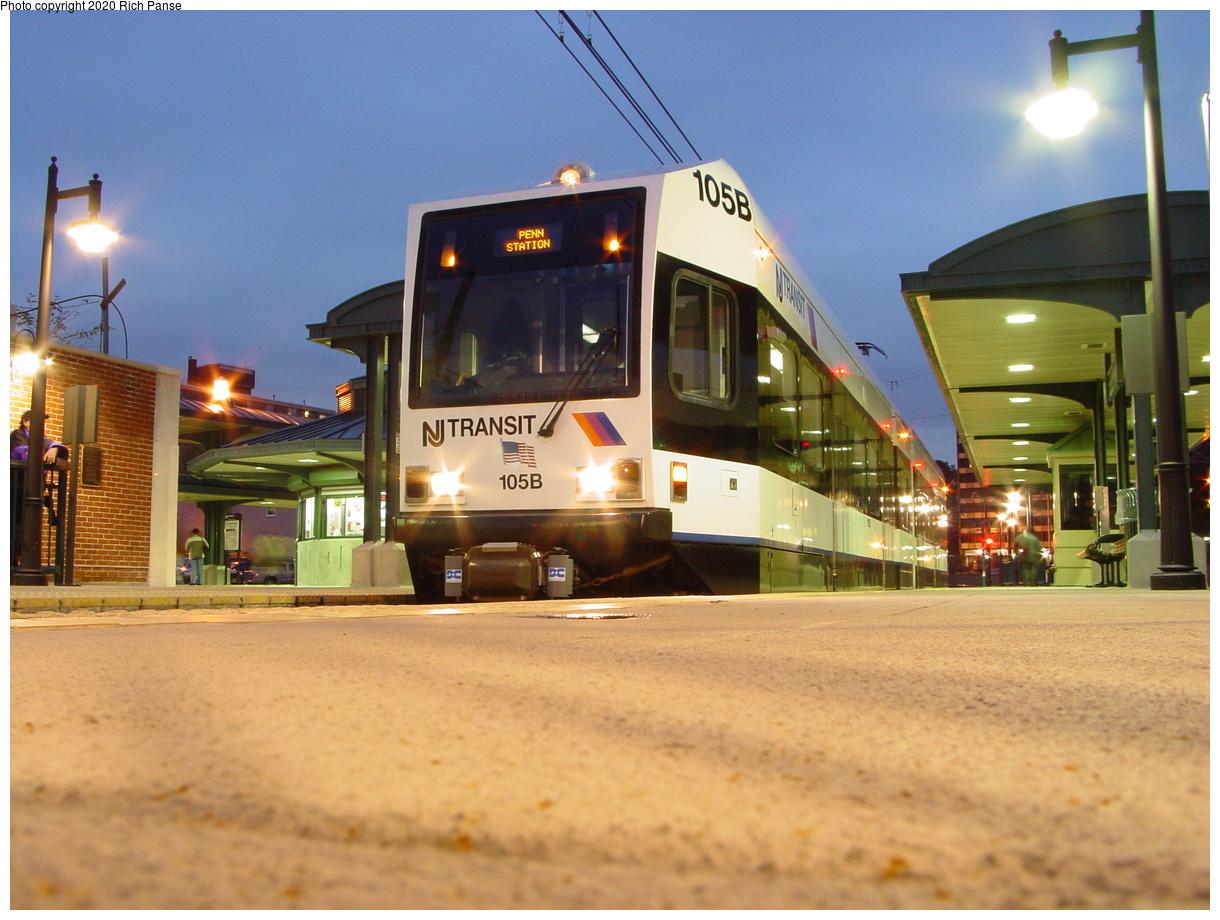 (72k, 820x620)<br><b>Country:</b> United States<br><b>City:</b> Newark, NJ<br><b>System:</b> Newark City Subway<br><b>Line:</b> 7-City Subway<br><b>Location:</b> Branch Brook Park <br><b>Car:</b> NJT Kinki-Sharyo LRV (Newark) 105 <br><b>Photo by:</b> Richard Panse<br><b>Date:</b> 10/28/2003<br><b>Viewed (this week/total):</b> 0 / 3367