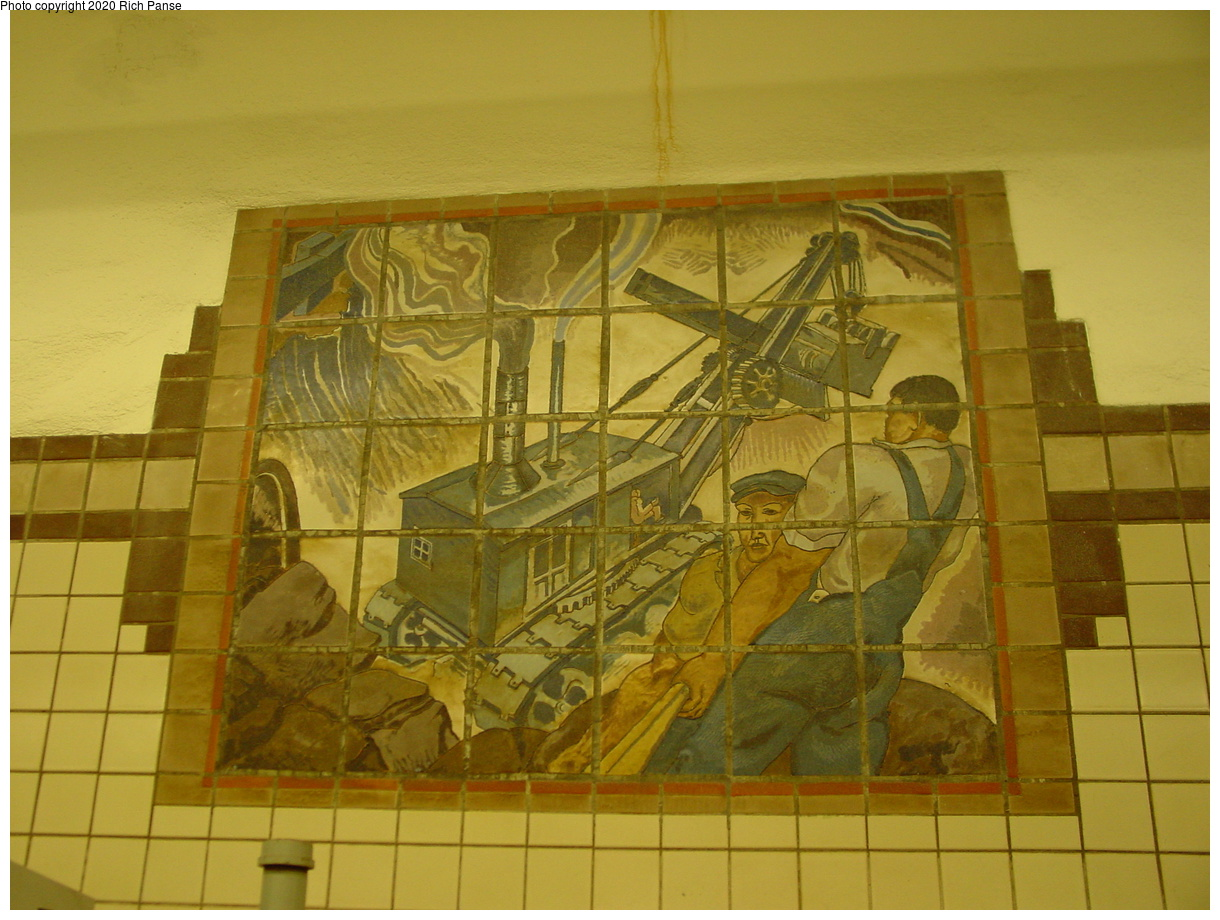 (397k, 1220x920)<br><b>Country:</b> United States<br><b>City:</b> Newark, NJ<br><b>System:</b> Newark City Subway<br><b>Line:</b> 7-City Subway<br><b>Location:</b> Penn Station<br><b>Photo by:</b> Richard Panse<br><b>Date:</b> 5/27/2003<br><b>Notes:</b> Subway Workers Mosaic<br><b>Viewed (this week/total):</b> 0 / 3101