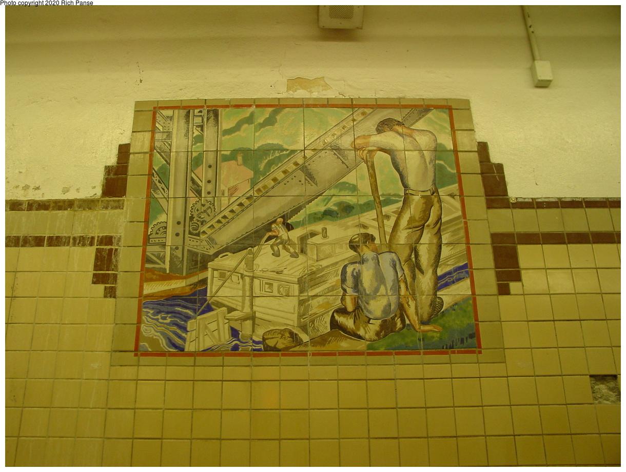 (69k, 820x620)<br><b>Country:</b> United States<br><b>City:</b> Newark, NJ<br><b>System:</b> Newark City Subway<br><b>Line:</b> 7-City Subway<br><b>Location:</b> Penn Station <br><b>Photo by:</b> Richard Panse<br><b>Date:</b> 5/27/2003<br><b>Notes:</b> Canal Workers Mosaic<br><b>Viewed (this week/total):</b> 1 / 3122