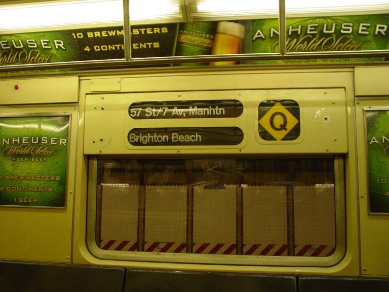 (68k, 768x576)<br><b>Country:</b> United States<br><b>City:</b> New York<br><b>System:</b> New York City Transit<br><b>Route:</b> Q<br><b>Car:</b> R-40 (St. Louis, 1968)  Interior <br><b>Photo by:</b> Richard Panse<br><b>Date:</b> 2/2004<br><b>Viewed (this week/total):</b> 0 / 3563