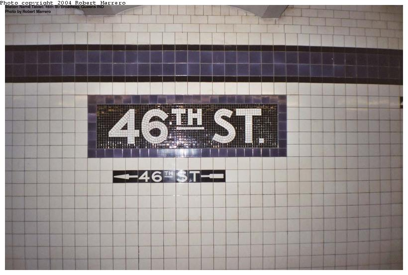 (83k, 820x553)<br><b>Country:</b> United States<br><b>City:</b> New York<br><b>System:</b> New York City Transit<br><b>Line:</b> IND Queens Boulevard Line<br><b>Location:</b> 46th Street <br><b>Photo by:</b> Robert Marrero<br><b>Date:</b> 8/2003<br><b>Viewed (this week/total):</b> 0 / 2620