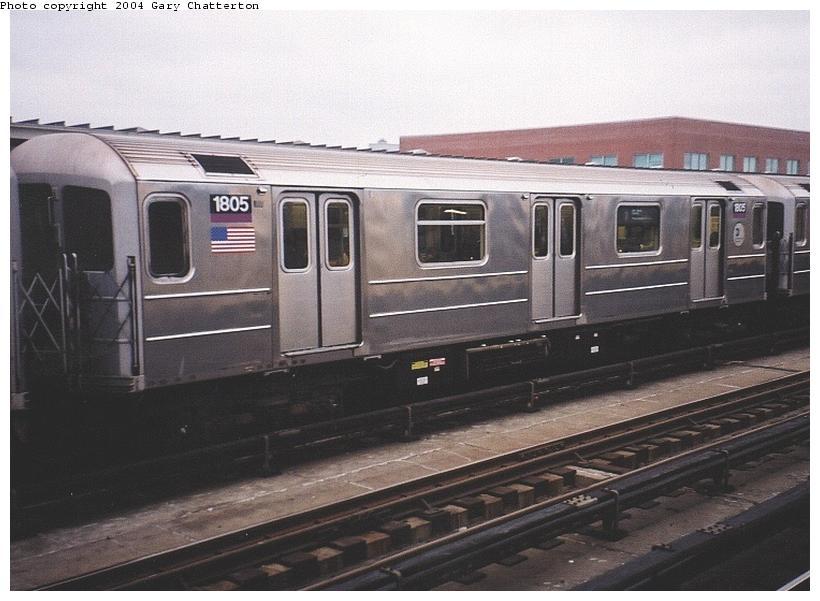 (68k, 820x601)<br><b>Country:</b> United States<br><b>City:</b> New York<br><b>System:</b> New York City Transit<br><b>Line:</b> IRT Flushing Line<br><b>Location:</b> 46th Street/Bliss Street <br><b>Route:</b> 7<br><b>Car:</b> R-62A (Bombardier, 1984-1987)  1805 <br><b>Photo by:</b> Gary Chatterton<br><b>Date:</b> 11/18/2003<br><b>Viewed (this week/total):</b> 0 / 2868