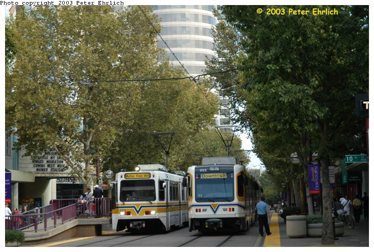 (86k, 740x498)<br><b>Country:</b> United States<br><b>City:</b> Sacramento, CA<br><b>System:</b> SACRT Light Rail<br><b>Location:</b> Cathedral Square <br><b>Car:</b> Sacramento Siemens LRV  119 <br><b>Photo by:</b> Peter Ehrlich<br><b>Date:</b> 10/18/2003<br><b>Notes:</b> South Line trains terminate here, but the last inbound passenger stop is St. Rose of Lima Park.<br><b>Viewed (this week/total):</b> 1 / 1852