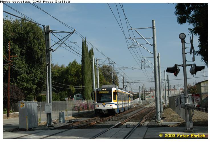 (72k, 740x498)<br><b>Country:</b> United States<br><b>City:</b> Sacramento, CA<br><b>System:</b> SACRT Light Rail<br><b>Location:</b> Bee Junction/Bee Bridge <br><b>Car:</b> Sacramento CAF LRV  207 <br><b>Photo by:</b> Peter Ehrlich<br><b>Date:</b> 10/18/2003<br><b>Viewed (this week/total):</b> 0 / 1530