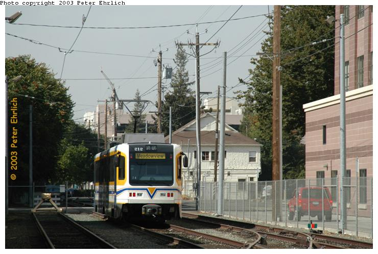 (73k, 740x498)<br><b>Country:</b> United States<br><b>City:</b> Sacramento, CA<br><b>System:</b> SACRT Light Rail<br><b>Location:</b> 12th St. Yard <br><b>Car:</b> Sacramento CAF LRV  212 <br><b>Photo by:</b> Peter Ehrlich<br><b>Date:</b> 10/18/2003<br><b>Viewed (this week/total):</b> 0 / 1946