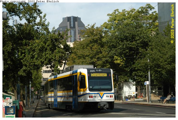 (89k, 740x498)<br><b>Country:</b> United States<br><b>City:</b> Sacramento, CA<br><b>System:</b> SACRT Light Rail<br><b>Location:</b> 8th & O <br><b>Car:</b> Sacramento CAF LRV  215 <br><b>Photo by:</b> Peter Ehrlich<br><b>Date:</b> 10/18/2003<br><b>Viewed (this week/total):</b> 1 / 1323