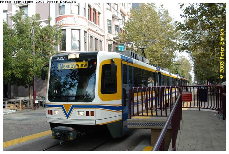 (88k, 740x498)<br><b>Country:</b> United States<br><b>City:</b> Sacramento, CA<br><b>System:</b> SACRT Light Rail<br><b>Location:</b> St. Rose of Lima Park <br><b>Car:</b> Sacramento CAF LRV  222 <br><b>Photo by:</b> Peter Ehrlich<br><b>Date:</b> 10/18/2003<br><b>Viewed (this week/total):</b> 0 / 1875