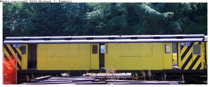 (65k, 820x343)<br><b>Country:</b> United States<br><b>City:</b> New York<br><b>System:</b> New York City Transit<br><b>Location:</b> 36th Street Yard<br><b>Car:</b> R-71 Rider Car (R-17/R-21/R-22 Rebuilds)  RD337 (ex-5950)<br><b>Photo by:</b> Michael Pompili<br><b>Date:</b> 8/26/2001<br><b>Viewed (this week/total):</b> 0 / 2158