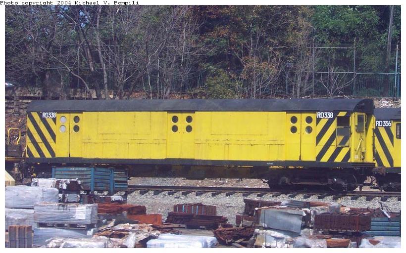 (100k, 820x512)<br><b>Country:</b> United States<br><b>City:</b> New York<br><b>System:</b> New York City Transit<br><b>Location:</b> 36th Street Yard<br><b>Car:</b> R-71 Rider Car (R-17/R-21/R-22 Rebuilds)  RD338 (ex-6214)<br><b>Photo by:</b> Michael Pompili<br><b>Date:</b> 8/26/2001<br><b>Viewed (this week/total):</b> 3 / 3224