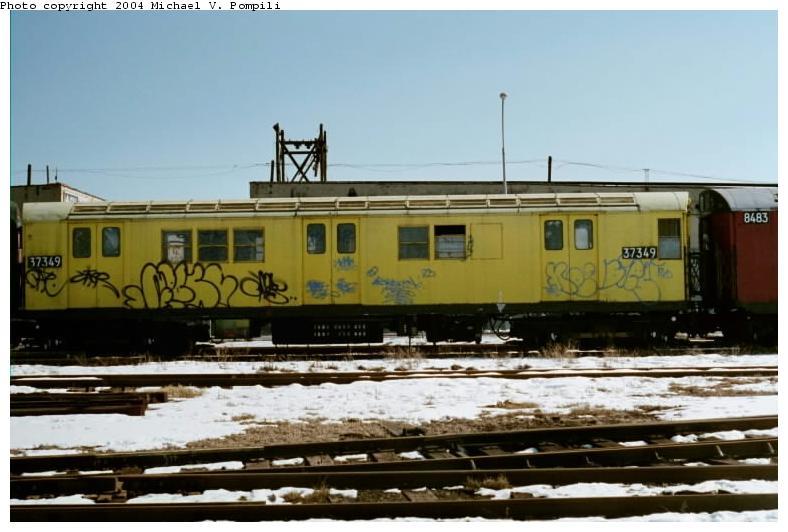 (61k, 788x532)<br><b>Country:</b> United States<br><b>City:</b> New York<br><b>System:</b> New York City Transit<br><b>Line:</b> South Brooklyn Railway<br><b>Location:</b> SBK Yard (2nd Ave at 38th St.) (SBK)<br><b>Car:</b> R-22 (St. Louis, 1957-58) 37349 <br><b>Photo by:</b> Michael Pompili<br><b>Date:</b> 1/28/2001<br><b>Viewed (this week/total):</b> 1 / 2277