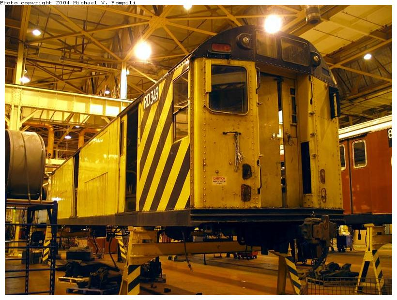 (114k, 820x620)<br><b>Country:</b> United States<br><b>City:</b> New York<br><b>System:</b> New York City Transit<br><b>Location:</b> Coney Island Shop/Overhaul & Repair Shop<br><b>Car:</b> R-71 Rider Car (R-17/R-21/R-22 Rebuilds)  RD349 (ex-7522)<br><b>Photo by:</b> Michael Pompili<br><b>Date:</b> 12/30/2003<br><b>Viewed (this week/total):</b> 3 / 3002
