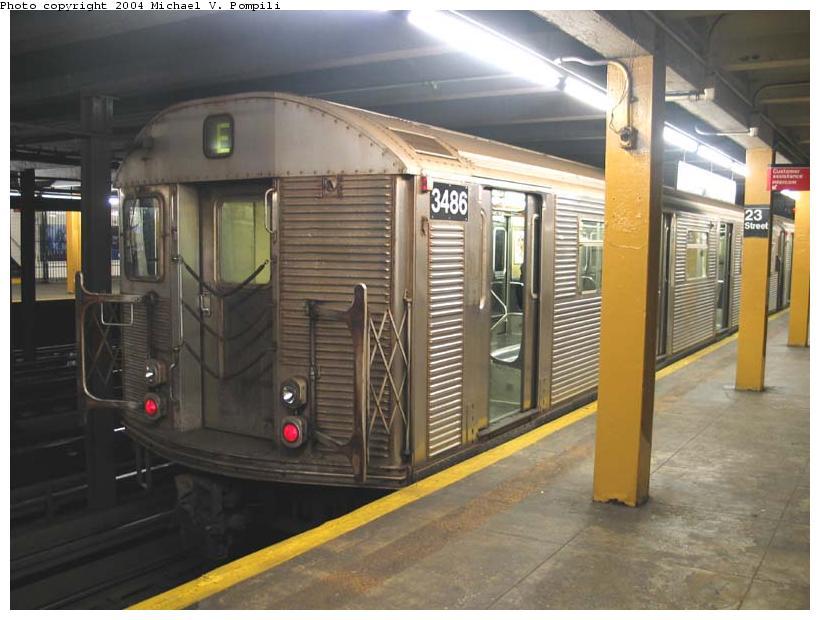 (84k, 820x620)<br><b>Country:</b> United States<br><b>City:</b> New York<br><b>System:</b> New York City Transit<br><b>Line:</b> IND 8th Avenue Line<br><b>Location:</b> 23rd Street <br><b>Route:</b> E<br><b>Car:</b> R-32 (Budd, 1964)  3486 <br><b>Photo by:</b> Michael Pompili<br><b>Date:</b> 12/4/2003<br><b>Viewed (this week/total):</b> 0 / 13259