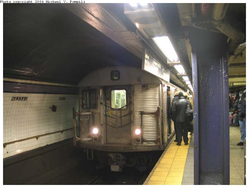 (67k, 820x620)<br><b>Country:</b> United States<br><b>City:</b> New York<br><b>System:</b> New York City Transit<br><b>Line:</b> IND 8th Avenue Line<br><b>Location:</b> Fulton Street (Broadway/Nassau) <br><b>Route:</b> C<br><b>Car:</b> R-32 (Budd, 1964)  3658 <br><b>Photo by:</b> Michael Pompili<br><b>Date:</b> 12/3/2003<br><b>Viewed (this week/total):</b> 4 / 6309