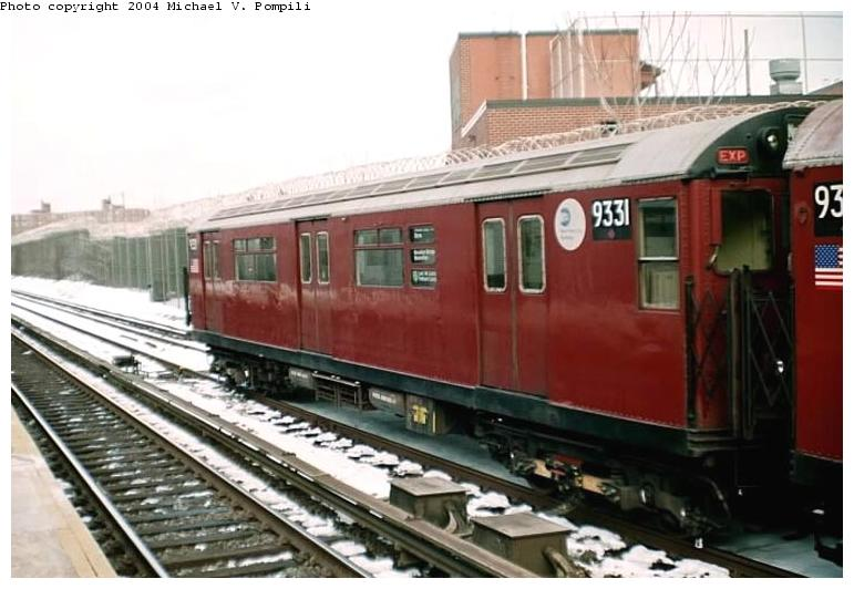 (68k, 771x532)<br><b>Country:</b> United States<br><b>City:</b> New York<br><b>System:</b> New York City Transit<br><b>Line:</b> BMT Canarsie Line<br><b>Location:</b> East 105th Street <br><b>Route:</b> Fan Trip<br><b>Car:</b> R-33 World's Fair (St. Louis, 1963-64) 9331 <br><b>Photo by:</b> Michael Pompili<br><b>Date:</b> 12/8/2002<br><b>Viewed (this week/total):</b> 1 / 3364