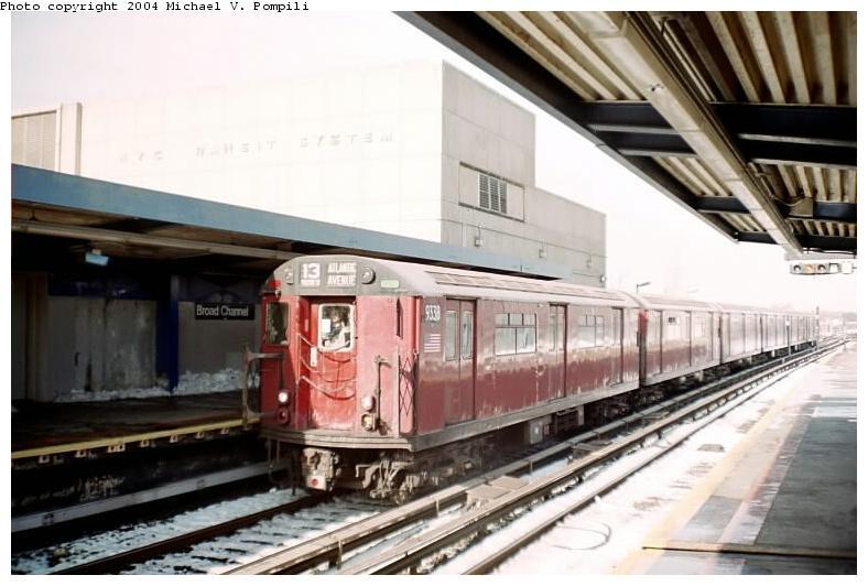 (66k, 788x532)<br><b>Country:</b> United States<br><b>City:</b> New York<br><b>System:</b> New York City Transit<br><b>Line:</b> IND Rockaway<br><b>Location:</b> Broad Channel <br><b>Route:</b> Fan Trip<br><b>Car:</b> R-33 World's Fair (St. Louis, 1963-64) 9338 <br><b>Photo by:</b> Michael Pompili<br><b>Date:</b> 12/8/2002<br><b>Viewed (this week/total):</b> 0 / 2807