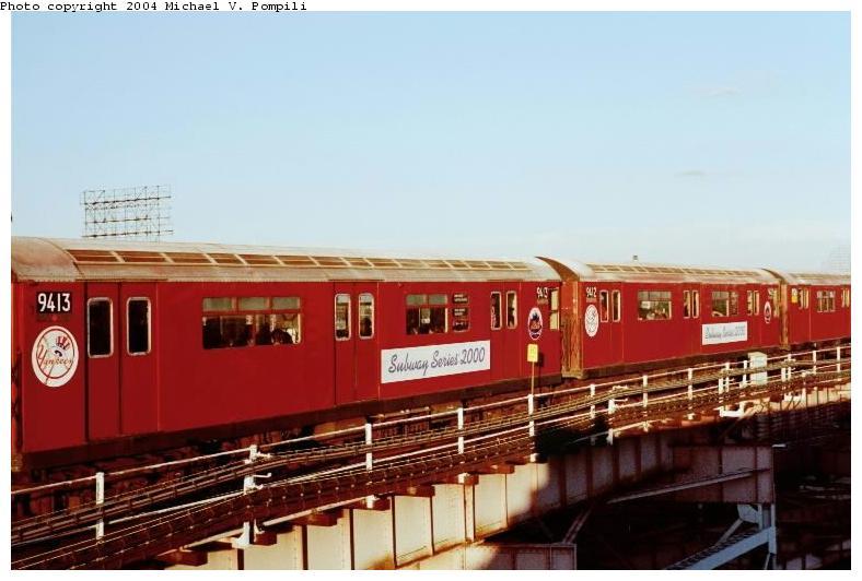 (58k, 788x532)<br><b>Country:</b> United States<br><b>City:</b> New York<br><b>System:</b> New York City Transit<br><b>Line:</b> IRT Flushing Line<br><b>Location:</b> Queensborough Plaza <br><b>Route:</b> 7<br><b>Car:</b> R-36 World's Fair (St. Louis, 1963-64) 9413 <br><b>Photo by:</b> Michael Pompili<br><b>Date:</b> 6/29/2001<br><b>Viewed (this week/total):</b> 0 / 2359