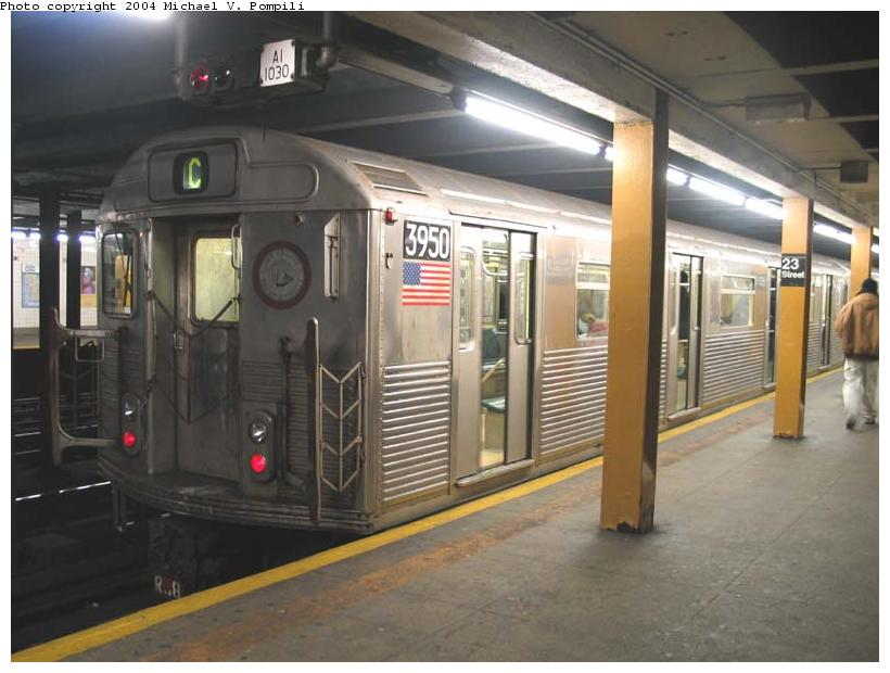(80k, 820x620)<br><b>Country:</b> United States<br><b>City:</b> New York<br><b>System:</b> New York City Transit<br><b>Line:</b> IND 8th Avenue Line<br><b>Location:</b> 23rd Street <br><b>Route:</b> C<br><b>Car:</b> R-38 (St. Louis, 1966-1967)  3950 <br><b>Photo by:</b> Michael Pompili<br><b>Date:</b> 12/4/2003<br><b>Viewed (this week/total):</b> 2 / 10607