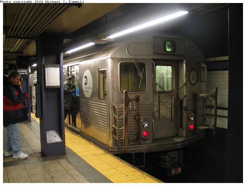 (76k, 820x620)<br><b>Country:</b> United States<br><b>City:</b> New York<br><b>System:</b> New York City Transit<br><b>Line:</b> IND 8th Avenue Line<br><b>Location:</b> Fulton Street (Broadway/Nassau) <br><b>Route:</b> C<br><b>Car:</b> R-38 (St. Louis, 1966-1967)  3950 <br><b>Photo by:</b> Michael Pompili<br><b>Date:</b> 12/4/2003<br><b>Viewed (this week/total):</b> 1 / 6169