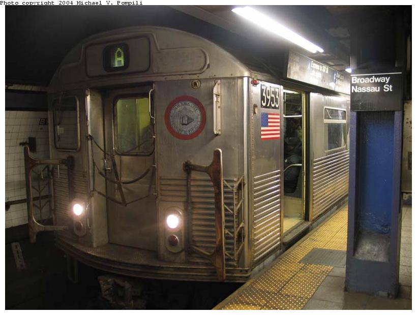 (76k, 820x620)<br><b>Country:</b> United States<br><b>City:</b> New York<br><b>System:</b> New York City Transit<br><b>Line:</b> IND 8th Avenue Line<br><b>Location:</b> Fulton Street (Broadway/Nassau) <br><b>Route:</b> A<br><b>Car:</b> R-38 (St. Louis, 1966-1967)  3953 <br><b>Photo by:</b> Michael Pompili<br><b>Date:</b> 12/3/2003<br><b>Viewed (this week/total):</b> 0 / 5610