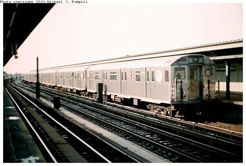 (64k, 788x532)<br><b>Country:</b> United States<br><b>City:</b> New York<br><b>System:</b> New York City Transit<br><b>Line:</b> IND Fulton Street Line<br><b>Location:</b> Rockaway Boulevard <br><b>Route:</b> A<br><b>Car:</b> R-38 (St. Louis, 1966-1967)  4121 <br><b>Photo by:</b> Michael Pompili<br><b>Date:</b> 12/8/2002<br><b>Viewed (this week/total):</b> 1 / 3041