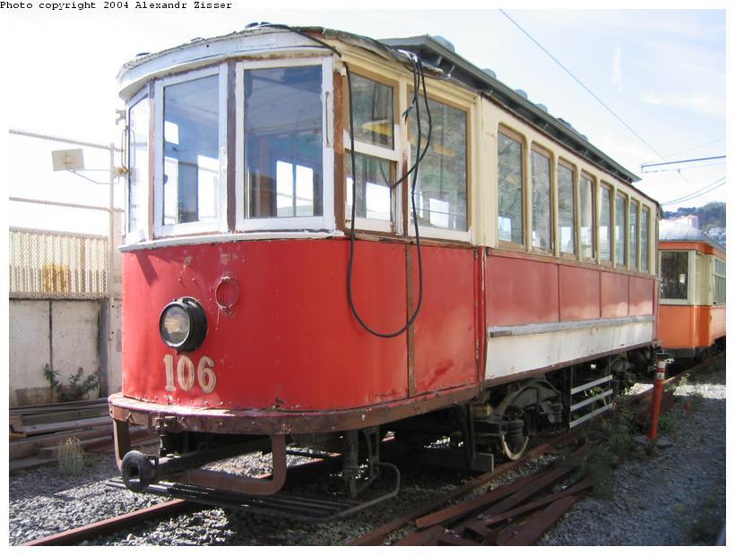(86k, 820x620)<br><b>Country:</b> United States<br><b>City:</b> San Francisco/Bay Area, CA<br><b>System:</b> SF MUNI<br><b>Location:</b> Duboce aka Mint aka Pharr Yard <br><b>Car:</b> SF MUNI Moscow/Orel Tram (built 1912) 106 <br><b>Photo by:</b> Alexandr Zisser<br><b>Date:</b> 10/18/2003<br><b>Viewed (this week/total):</b> 13 / 2052