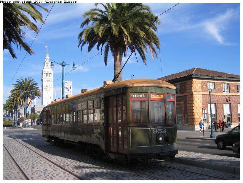 (97k, 820x620)<br><b>Country:</b> United States<br><b>City:</b> San Francisco/Bay Area, CA<br><b>System:</b> SF MUNI<br><b>Location:</b> Embarcadero/Mission <br><b>Route:</b> F-Market<br><b>Car:</b> New Orleans Public Service (Perley A. Thomas Car Works, 1924) 952 <br><b>Photo by:</b> Alexandr Zisser<br><b>Date:</b> 10/17/2003<br><b>Viewed (this week/total):</b> 1 / 1862