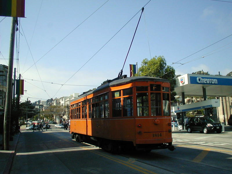 (76k, 800x600)<br><b>Country:</b> United States<br><b>City:</b> San Francisco/Bay Area, CA<br><b>System:</b> SF MUNI<br><b>Location:</b> Market/17th/Castro <br><b>Route:</b> F-Market<br><b>Car:</b> Milan Milano/Peter Witt (1927-1930)  1814 <br><b>Photo by:</b> Todd Glickman<br><b>Date:</b> 9/28/2003<br><b>Viewed (this week/total):</b> 0 / 743