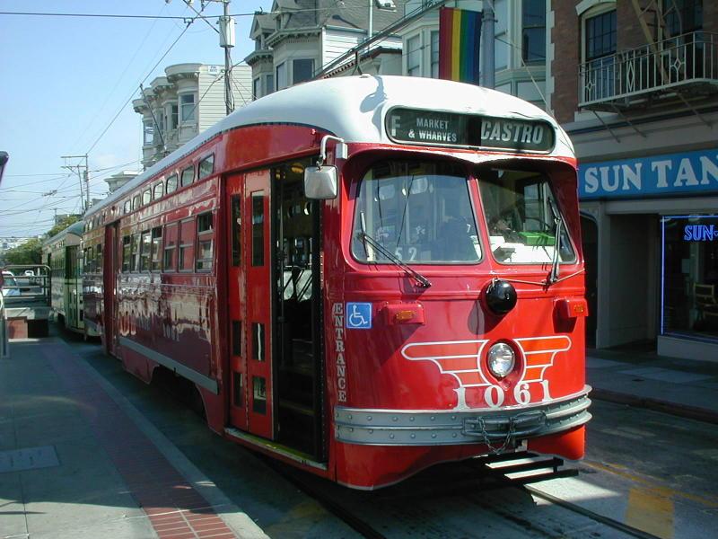 (97k, 800x600)<br><b>Country:</b> United States<br><b>City:</b> San Francisco/Bay Area, CA<br><b>System:</b> SF MUNI<br><b>Location:</b> Market/17th/Castro <br><b>Route:</b> F-Market<br><b>Car:</b> SF MUNI PCC (Ex-SEPTA) (St. Louis Car Co., 1947-1948)  1061 <br><b>Photo by:</b> Todd Glickman<br><b>Date:</b> 9/28/2003<br><b>Viewed (this week/total):</b> 1 / 897