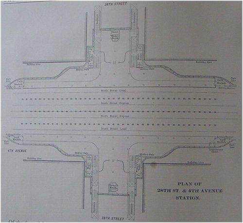 (35k, 500x460)<br><b>Country:</b> United States<br><b>City:</b> New York<br><b>System:</b> New York City Transit<br><b>Location:</b> Interborough Subway<br><b>Photo by:</b> IRT Company<br><b>Date:</b> 1904<br><b>Notes:</b> Plan of 28th Street & 4th Avenue Station<br><b>Viewed (this week/total):</b> 4 / 5168