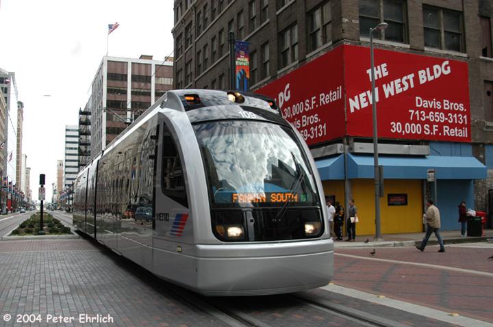 (148k, 720x478)<br><b>Country:</b> United States<br><b>City:</b> Houston, TX<br><b>System:</b> Houston METRORail<br><b>Location:</b> Main & Walker <br><b>Car:</b> Siemens Avanto 109 <br><b>Photo by:</b> Peter Ehrlich<br><b>Date:</b> 2/6/2004<br><b>Notes:</b> Note single tracking on inbound track<br><b>Viewed (this week/total):</b> 0 / 5246