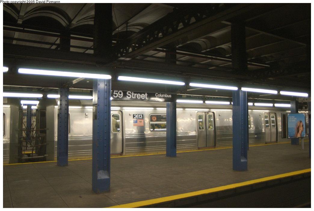 (160k, 1044x701)<br><b>Country:</b> United States<br><b>City:</b> New York<br><b>System:</b> New York City Transit<br><b>Line:</b> IND 8th Avenue Line<br><b>Location:</b> 59th Street/Columbus Circle <br><b>Route:</b> D<br><b>Car:</b> R-68 (Westinghouse-Amrail, 1986-1988)  2613 <br><b>Photo by:</b> David Pirmann<br><b>Date:</b> 2/29/2004<br><b>Viewed (this week/total):</b> 0 / 5897