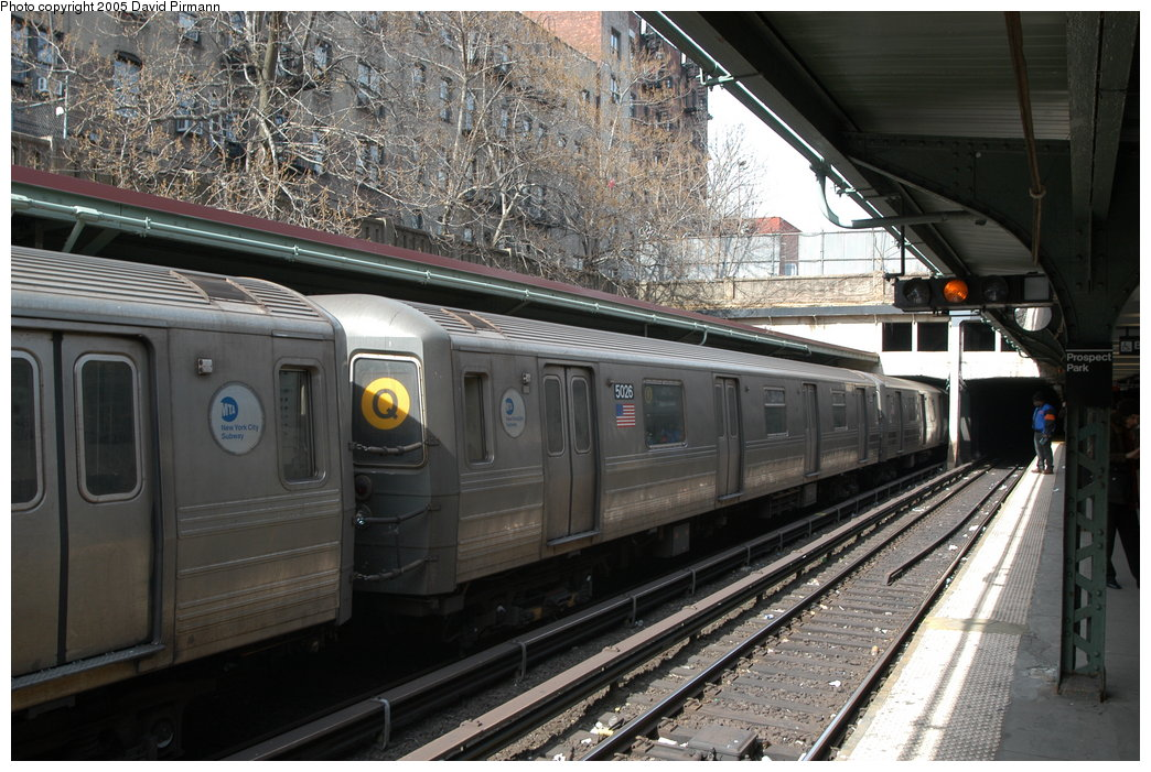 (232k, 1044x701)<br><b>Country:</b> United States<br><b>City:</b> New York<br><b>System:</b> New York City Transit<br><b>Line:</b> BMT Brighton Line<br><b>Location:</b> Prospect Park <br><b>Route:</b> Q<br><b>Car:</b> R-68A (Kawasaki, 1988-1989)  5026 <br><b>Photo by:</b> David Pirmann<br><b>Date:</b> 2/29/2004<br><b>Viewed (this week/total):</b> 0 / 4000